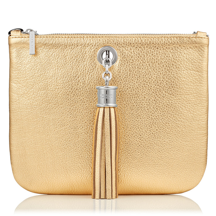 Ivy Gold Leather Pouch Handbag