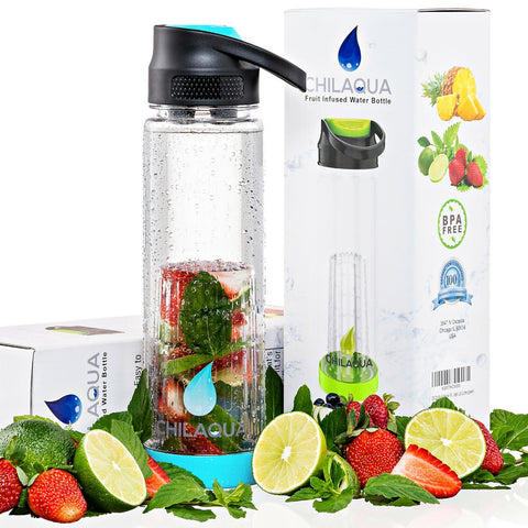 Chilaqua Active Fruit Infuser Water Bottle - SKY BLUE