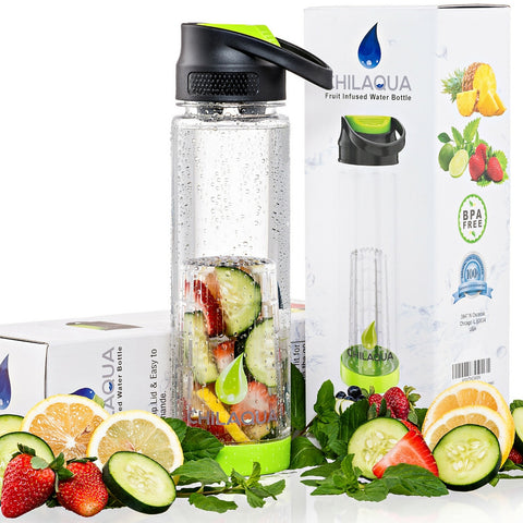Chilaqua Active Fruit Infuser Water Bottle - LIME GREEN