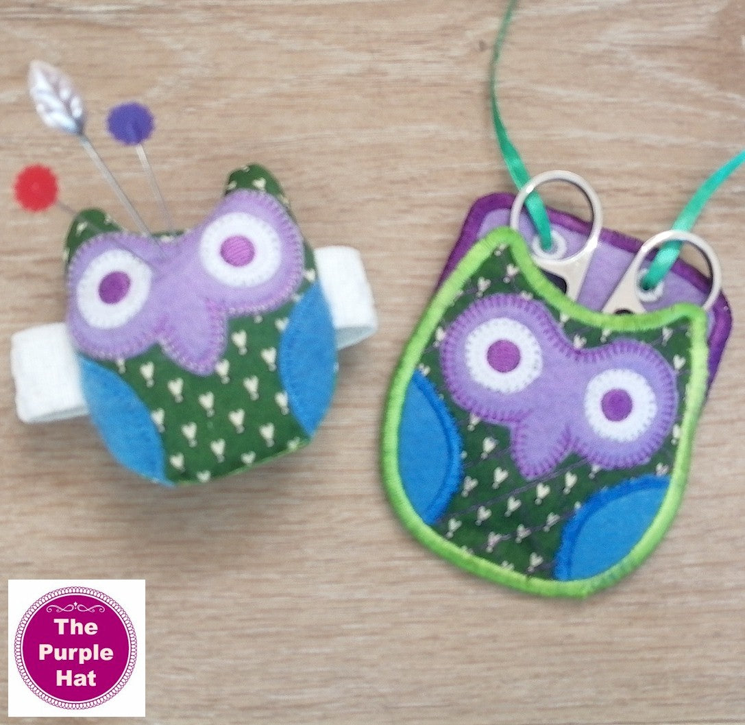 ITH Owl Wrist Pincushion and Scissors Holder Set 4x4
