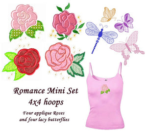 Romance Applique Set - Roses and Butterflies  4x4