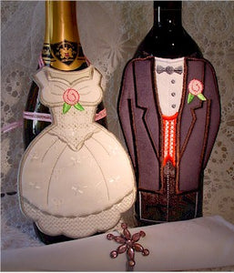 ITH Wedding Bride and Groom Bottle Aprons 5x7
