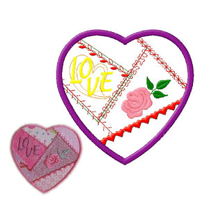 Crazy Heart applique piece in the hoop design - 4x4 and 5x7
