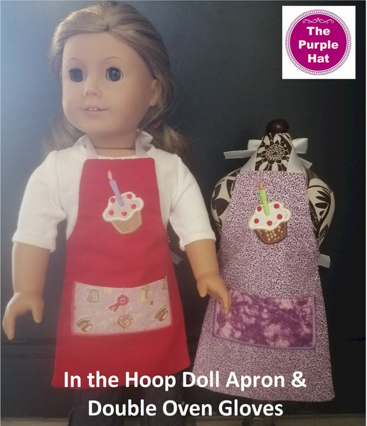 ITH Fully Reversible Apron and Double Oven Gloves for 18 inch doll 6x10