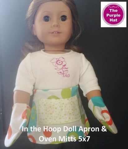 ITH Fully Reversible Half Apron and Oven Mitts for 18 inch doll 5x7