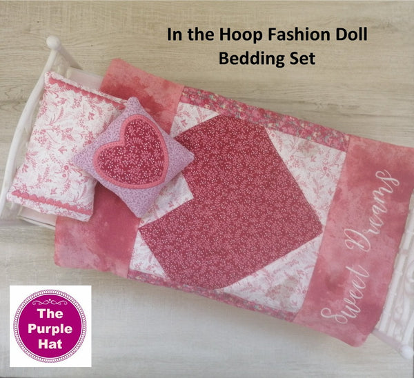 ITH Heart Bedding Set for 11 1/2 inch dolls