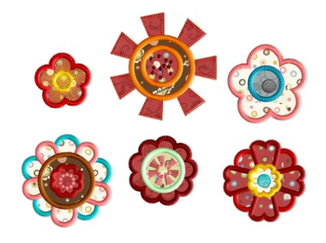 Funky Flowers Applique Set 4x4