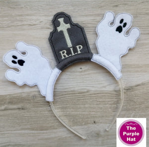 ITH In the Hoop Ghosts & Tombstone Halloween Headband Sliders 4x4