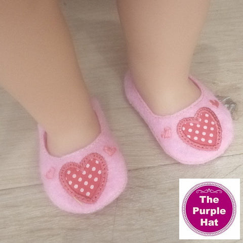 ITH Valentine Hearts shoes or slippers for 18 inch doll 4x4