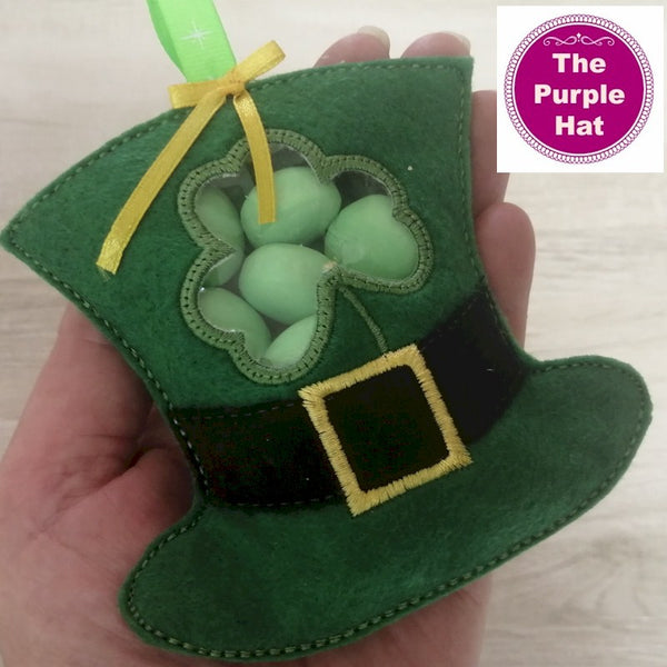 ITH St Patrick's Day Leprechaun Hat candy gift bag with window 4x4 5x7