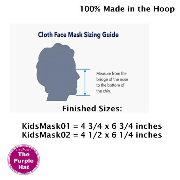 In the Hoop ITH Kids Basic Face or Dust Mask 2 sizes 5x7