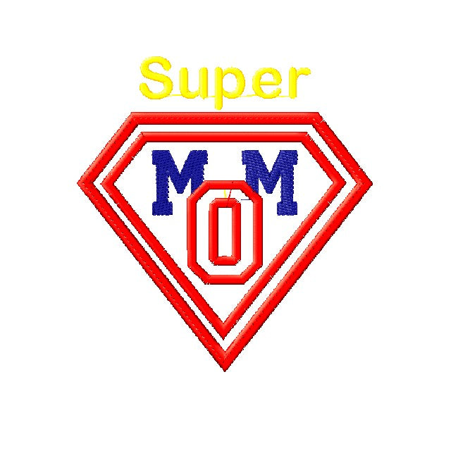 Supermom applique design - 5x7