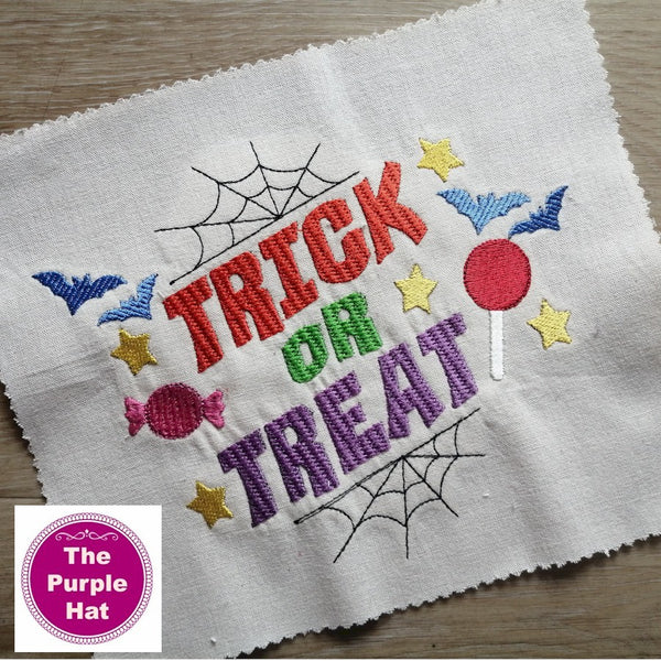 Halloween Trick or Treat machine embroidery design 5x7 and 6x10
