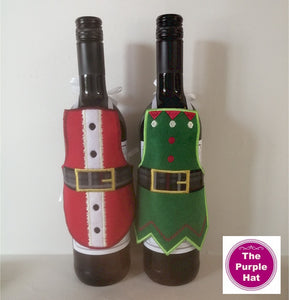 ITH Christmas Bottle Aprons Set 01 5x7