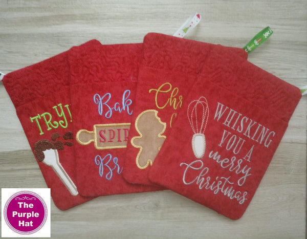 ITH In the Hoop Christmas Potholders 6x10