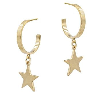 "Gold Hoop with Star Charm 1.5"" Earring"