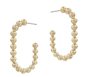 "Gold Beaded Oval 1.5"" Earring!"