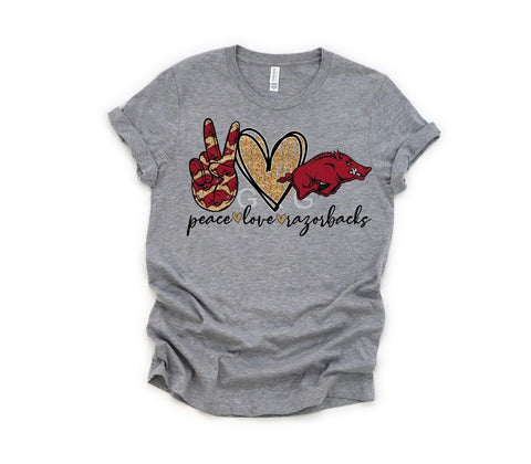 """Peace Love Razorback"" T-Shirt"