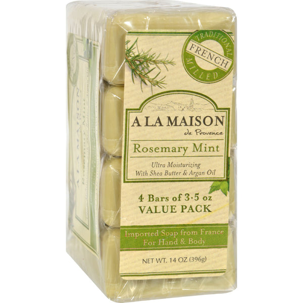 A La Maison Bar Soap - Rosemary Mint - Value 4 Pack - Bath and Body - Nature's Batch