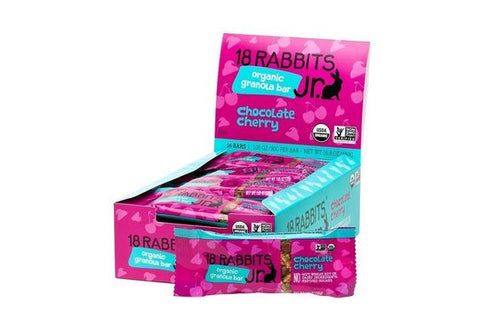 18 Rabbits Organic Granola Bar - Jr - Chocolate Cherry - Case of 16 - 1.05 oz Bars - Food and Beverage - Nature's Batch