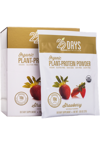 22 Days Nutrition Plant Protein Powder - Organic - Strawberry - .95 oz - Case of 12 - Sports and Fitness - Nature's Batch