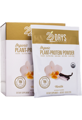 22 Days Nutrition Plant Protein Powder - Organic - Vanilla - .95 oz - Case of 12 - Sports and Fitness - Nature's Batch