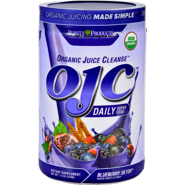 OJC-Purity Products Organic Juice Cleanse - Certified Organic - Advanced Daily Fiber Formula - Blueberry Detox - 7.4 oz - 95%+ Organic, Dairy Free, Gluten Free, Health Supplements, OJC-Purity Products, Vegan, Yeast Free