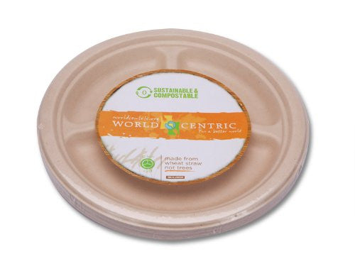 "World Centric 10"" 3 Compartment Fiber Plates - 50 ct each - Case of 14"