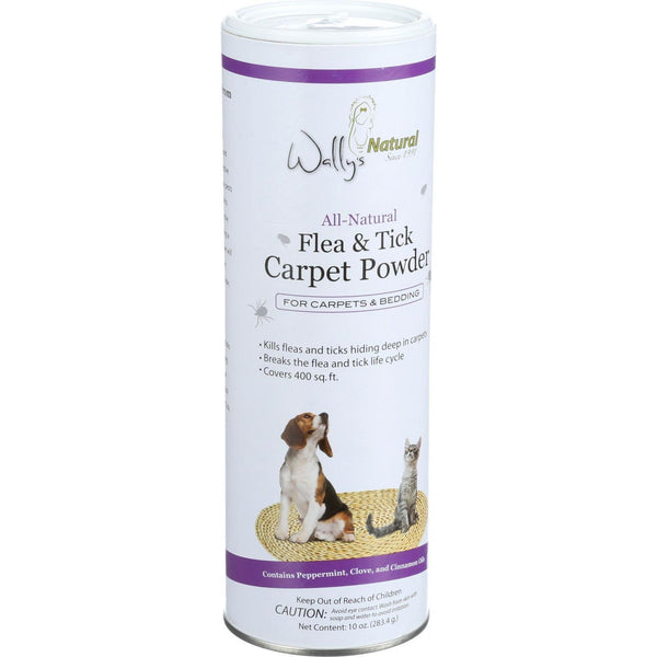 Wally's Natural Products All Natural Flea and Tick Carpet Powder - 10 oz - 1 Count - Pet Care and Supplies, Wally's Natural Products