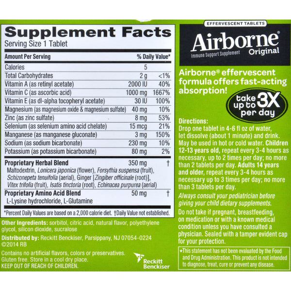 Airborne Effervescent Tablets with Vitamin C - Lemon Lime - 10 Tablets - Health Supplements - Nature's Batch