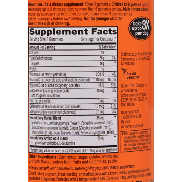 Airborne Vitamin C Gummies for Adults - Assorted Fruit Flavors - 21 Count - Health Supplements - Nature's Batch