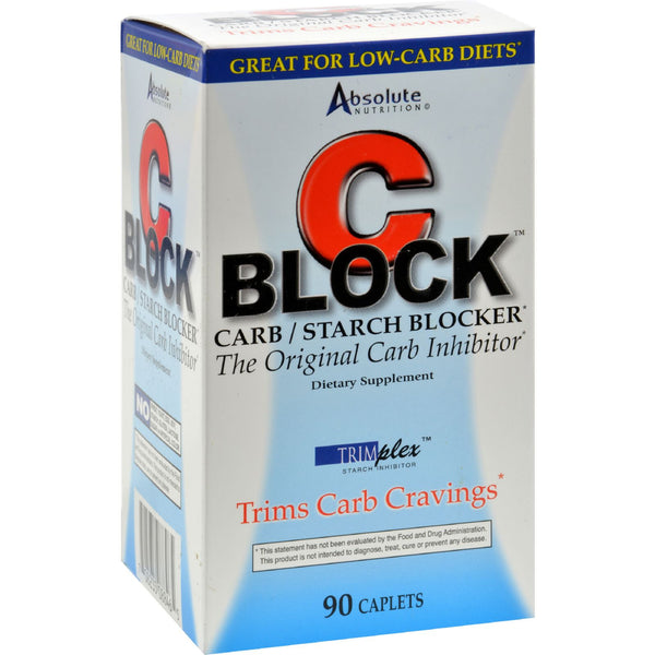 Absolute Nutrition C Block Carb and Starch Blocker - 90 Caplets - Sports and Fitness - Nature's Batch