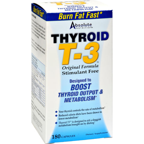 Absolute Nutrition Thyroid T-3 - 180 Capsules - Health Supplements - Nature's Batch