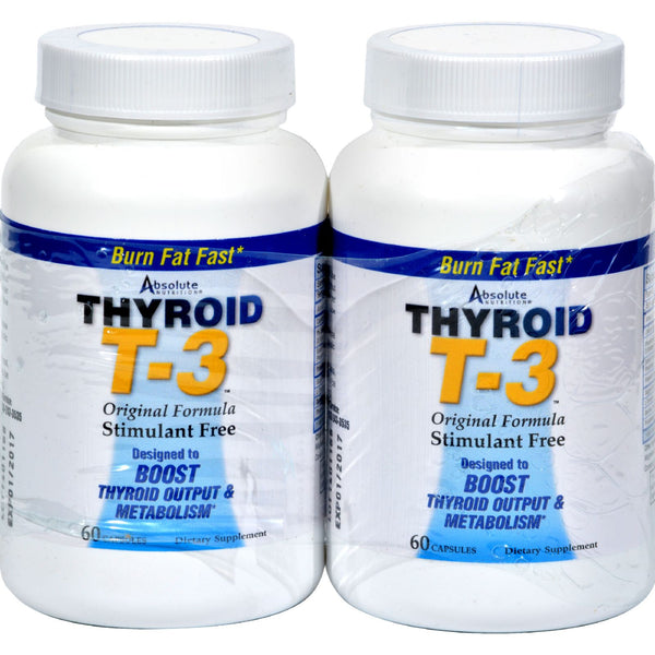 Absolute Nutrition Thyroid T-3 - 60 Capsules Each / Pack of 2 - Health Supplements - Nature's Batch
