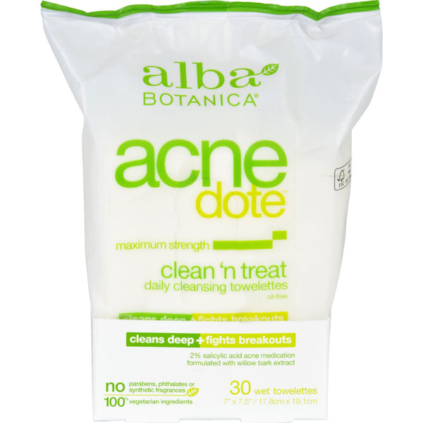 Alba Botanica Acnedote Clean Treat Towel - 30 Pack - Personal Care - Nature's Batch