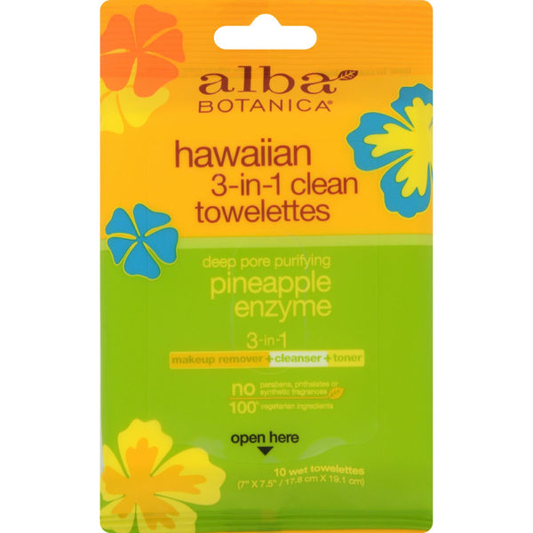 Alba Botanica 3 in 1 Hawaiian Towelettes - Case of 8 - 10 Count - Facial Care - Nature's Batch