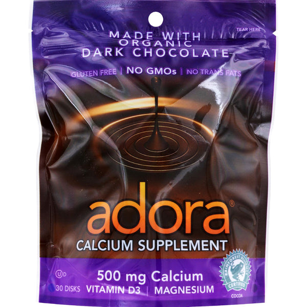 Adora Calcium Supplement Disk - Organic - Dark Chocolate - 30 ct - 1 Case - Vitamins and Minerals - Nature's Batch