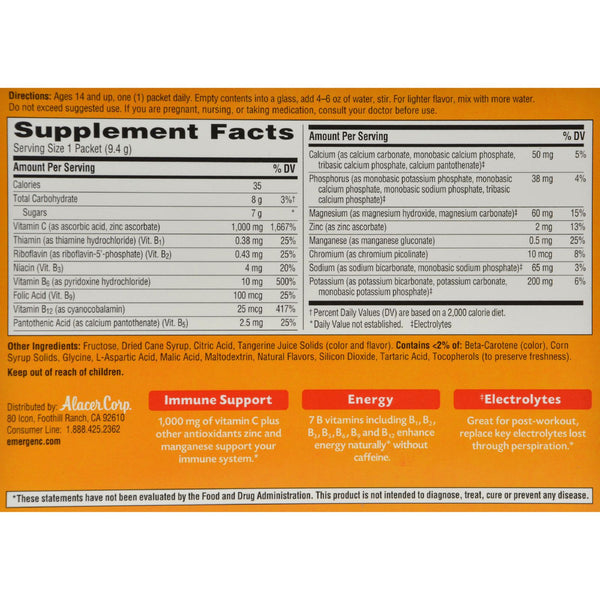 Alacer Emergen-C Vitamin C Fizzy Drink Mix Tangerine - 1000 mg - 30 Packets - Vitamins and Minerals - Nature's Batch