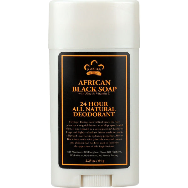 Nubian Heritage Deodorant - All Natural - 24 Hour - African Black Soap - 2.25 oz - 1 each - Gluten Free, Nubian Heritage, Personal Care