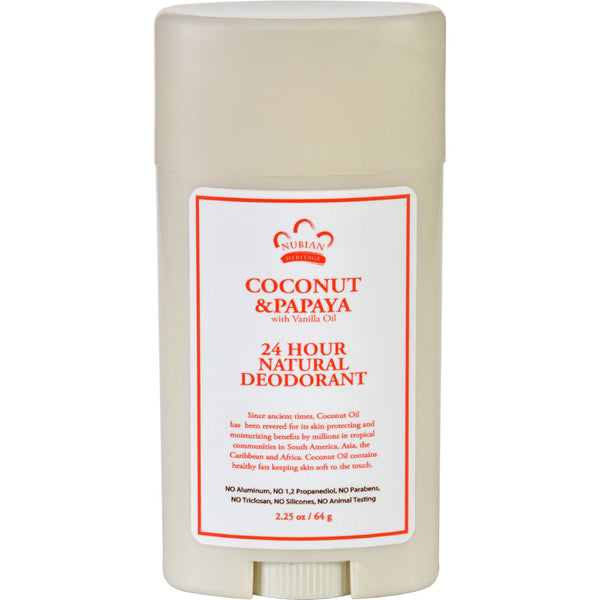 Nubian Heritage Deodorant - All Natural - 24 Hour - Coconut and Papaya - with Vanilla Oil - 2.25 oz - Gluten Free, Nubian Heritage, Personal Care
