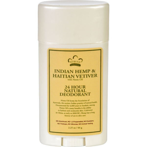 Nubian Heritage Deodorant - All Natural - 24 Hour - Indian Hemp and Haitian Vetiver - with Neem Oil - 2.25 oz - Gluten Free, Nubian Heritage, Personal Care