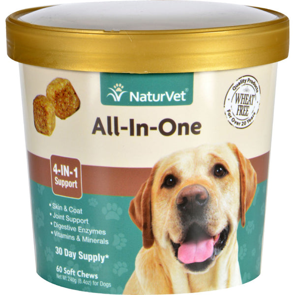 NaturVet All-In-One - Dogs - Cup - 60 Soft Chews - Naturvet, Pet Care and Supplies, Wheat Free