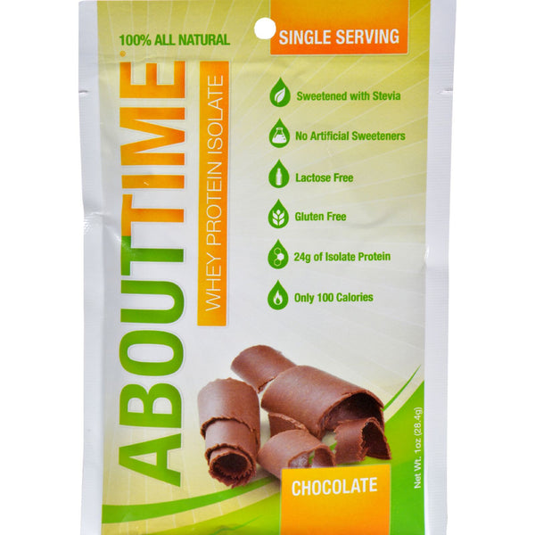 About Time Whey Protein Isolate - Chocolate Single Serving - 1 oz - Case of 12 - Sports and Fitness - Nature's Batch