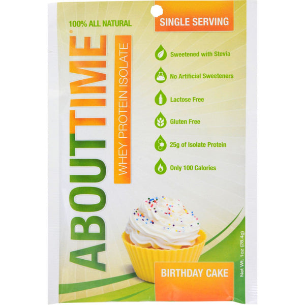 About Time Whey Protein Isolate - Birthday Cake Single Serving - 1 oz - Case of 12 - Sports and Fitness - Nature's Batch