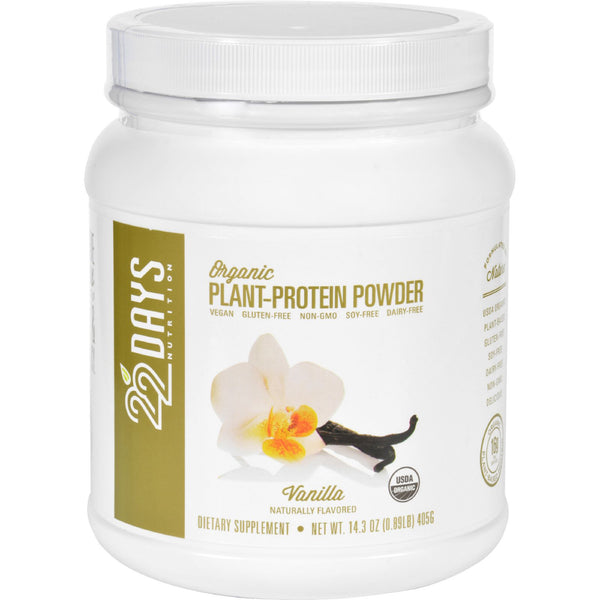 22 Days Nutrition Plant Protein Powder - Organic - Vanilla - 14.3 oz - Sports and Fitness - Nature's Batch