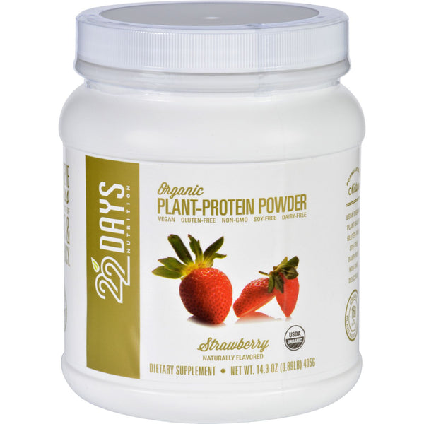 22 Days Nutrition Plant Protein Powder - Organic - Strawberry - 14.3 oz - Sports and Fitness - Nature's Batch