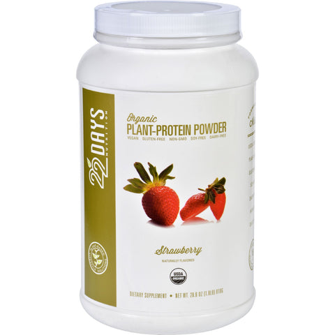 22 Days Nutrition Plant Protein Powder - Organic - Strawberry - 28.6 oz - Sports and Fitness - Nature's Batch