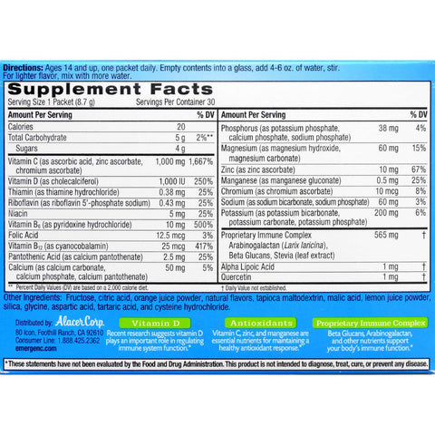 Alacer Emergen-C Immune Plus System Support with Vitamin D Citrus - 30 Packets - Health Supplements - Nature's Batch