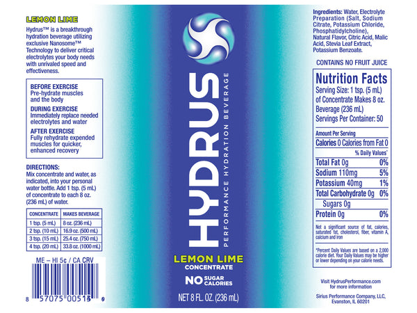 Hydrus Concentrate: 8oz. Bottles (24 Servings) Lemon-Lime