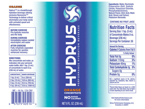 Hydrus Concentrate: 8oz. Bottle (24 Servings) Orange